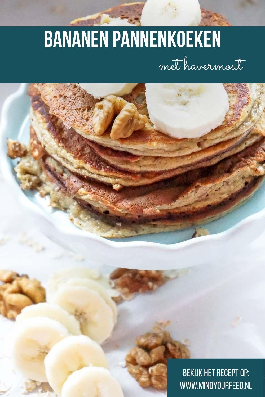 Bananen pannenkoeken, makkelijk recept voor banaan ei pannenkoek. Havermout pannenkoek, gezond ontbijt recept