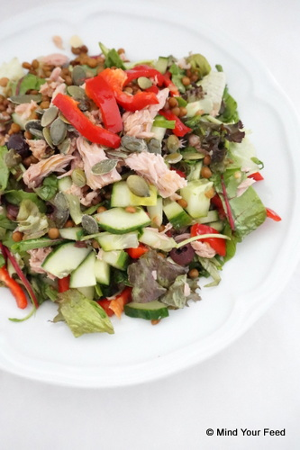 salade linzen tonijn