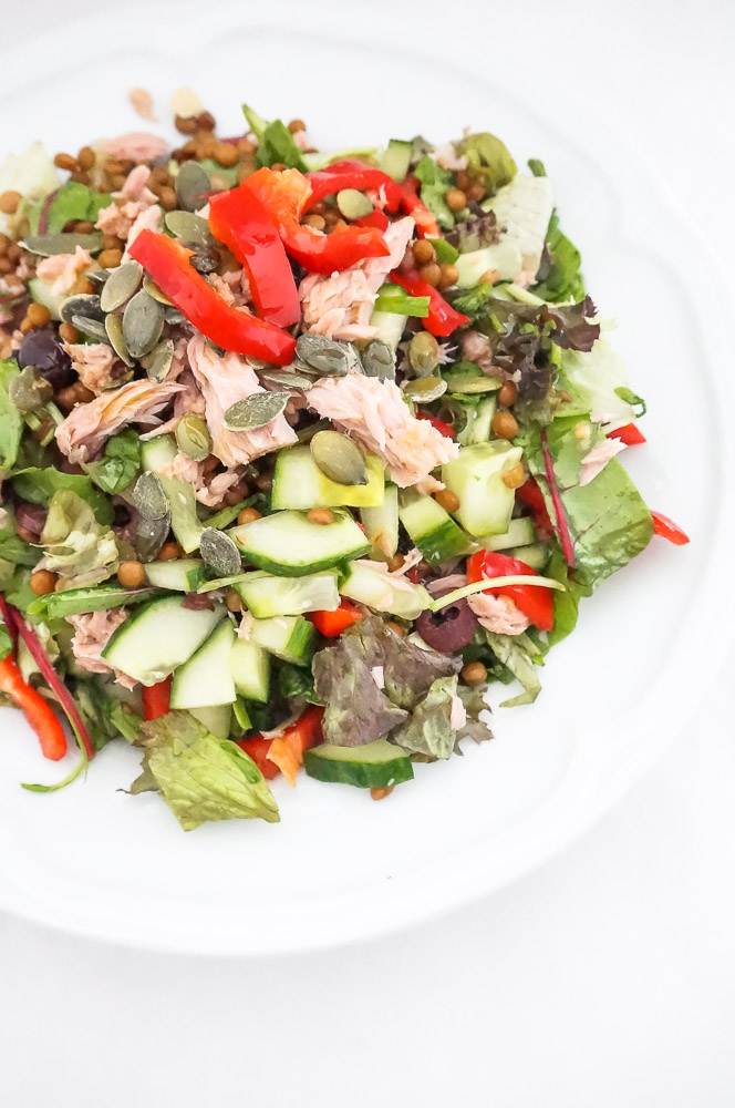 salade met linzen en tonijn, lunch salade recept