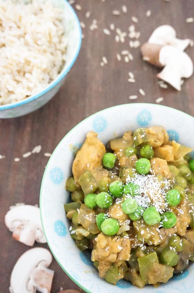 romige kokos curry met kip