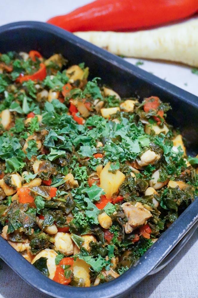 boerenkool met kip en pastinaak, boerenkool recept, zonder aardappel