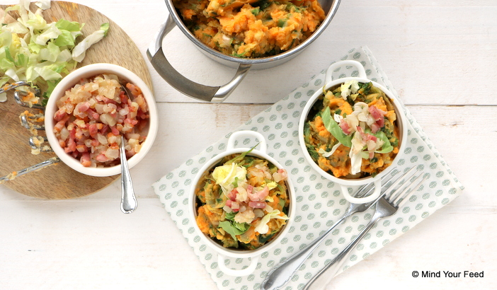 zoete aardappel andijvie stamppot, zoete aardappel recepten, zoete aardappel stamppot, zoete aardappel quiche, zoete aardappel gerechten, zoete aardappel uit de oven, vegetarische recepten zoete aardappel.