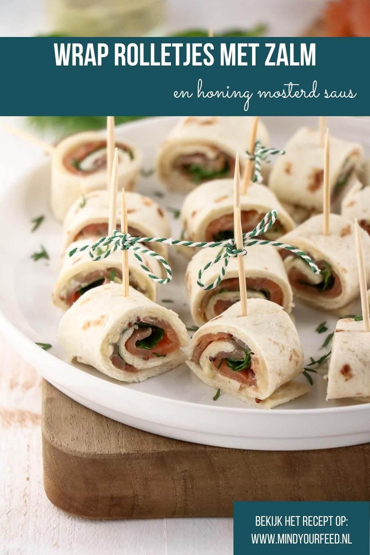 Zalm wrap, wrap rolletjes met gerookte zalm en honing mosterd saus, feestelijk borrelhapje of makkelijk picknick recept