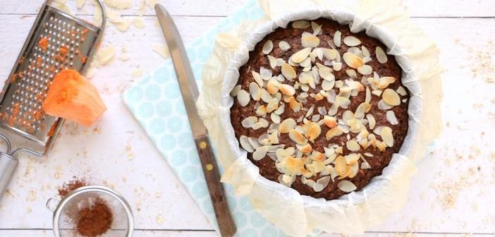 zoete aardappel chocolade taart