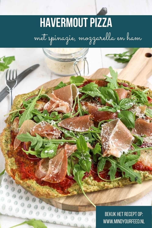 Havermout pizza met spinazie, makkelijk recept om zelf pizza bodem te maken van havermout, kwark en spinazie.