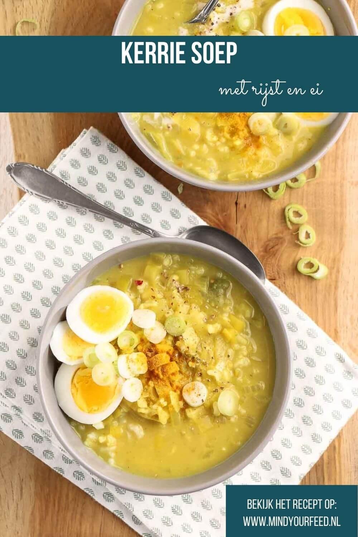 Kerriesoep met rijst en ei, makkelijke maaltijdsoep met kerrie, rijst en gekookt ei
