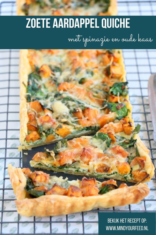 Zoete aardappel quiche met spinazie en oude kaas, makkelijk recept voor hartige taart met zoete aardappel en spinazie, quiche recepten vegetarisch,