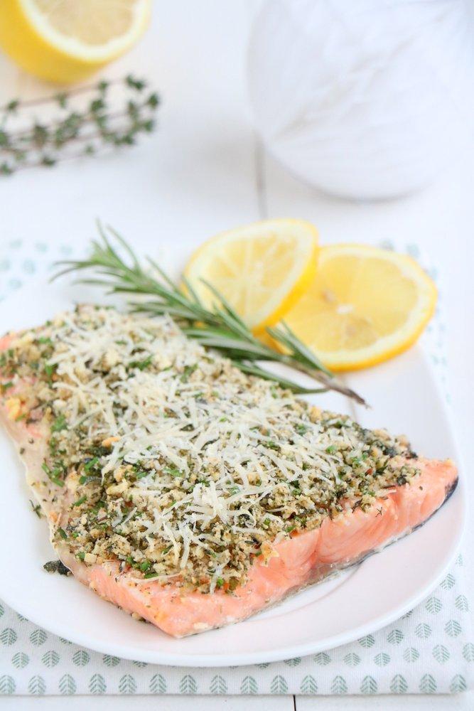 Zalm met Italiaanse kruidenkorst, recept zalm uit de oven, kerst recept vis
