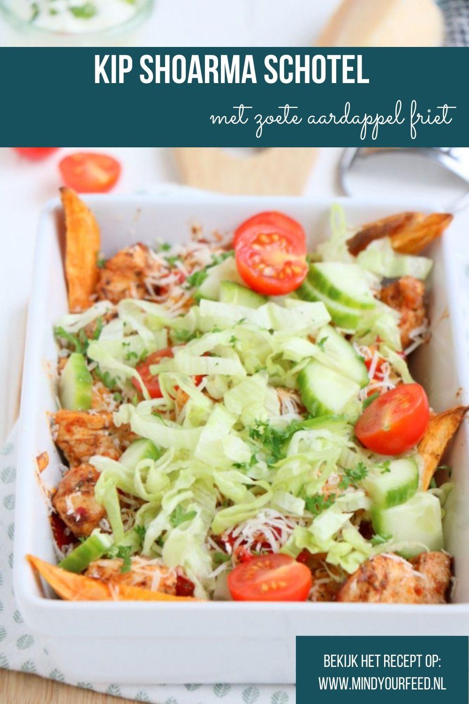 kip shoarma schotel met zoete aardappel friet, kapsalon gezond, kipsalon, zelf kipshoarma maken.