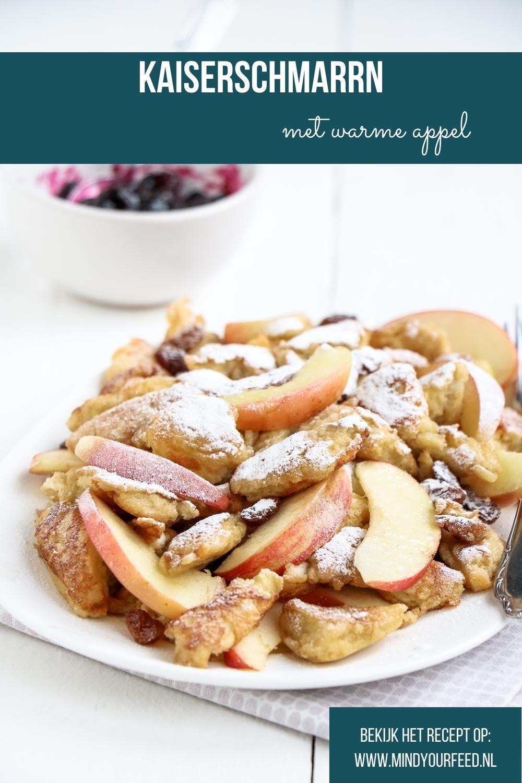 Kaiserschmarrn met warme appel, makkelijk recept voor de bekende Oostenrijkse pannenkoek met appel en compote. Oostenrijks recept, wintersport, zelf kaiserschmarrn maken