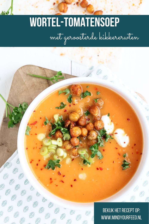 wortel tomatensoep, soep van wortel en tomaat, wortelsoep recept, geroosterde kikkererwten, croutons, zelf soep maken