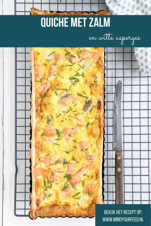 Quiche met witte asperges en zalm. Makkelijk recept voor hartige taart van bladerdeeg met zalm en asperges.