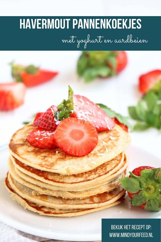 havermout pannenkoeken met yoghurt en aardbeien, havermout pannenkoekjes, ontbijt, recept voor makkelijke luchtige pannenkoeken met vers fruit