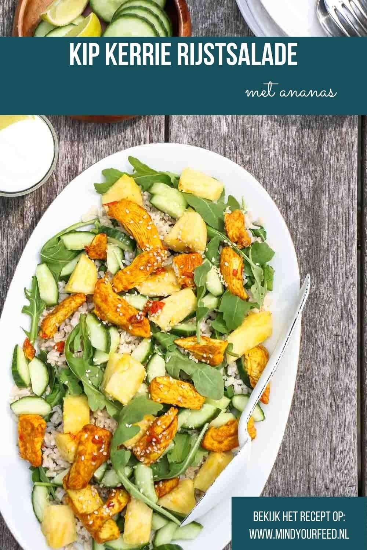 kip kerrie met rijst, kip kerrie rijstsalade, maaltijdsalade, zomers recept met kip in kerrie marinade, met rijst, salade, ananas