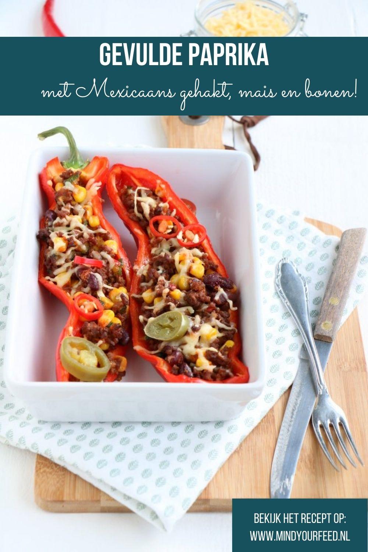 gevulde paprika met gehakt, Mexicaanse kruiden, mais en bonen, gevulde paprika uit de oven recept