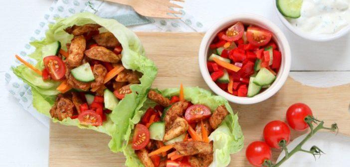 sla wraps met kip. snelle makkelijke kip recepten