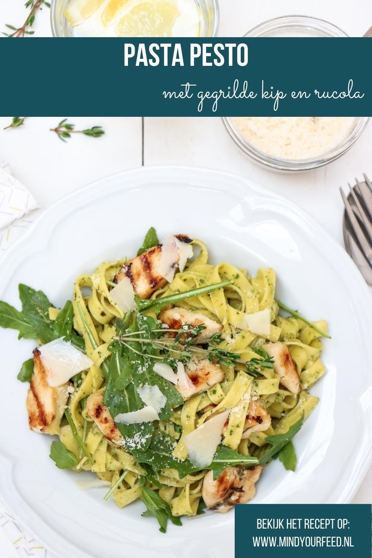 pasta pesto, makkelijk recept voor pasta pesto met kip en rucola, zelf pesto maken, snel recept