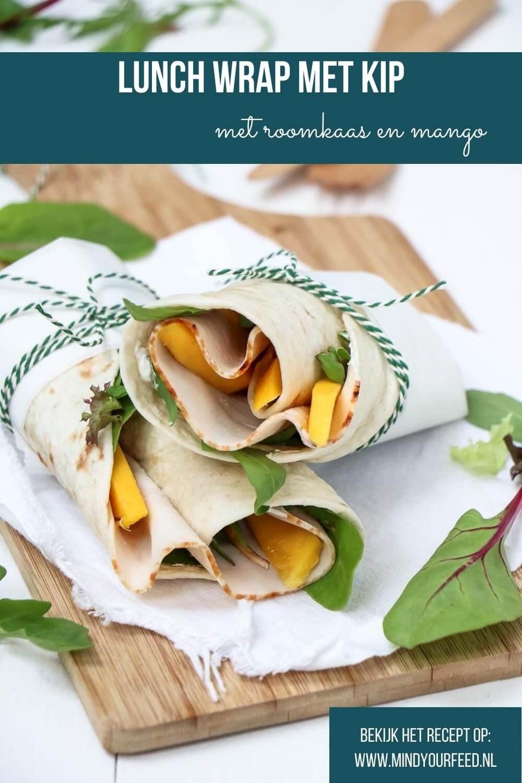 lunch wrap met kip, roomkaas, mango en gemengde sla. Makkelijke lunch tortilla, ook lekker onderweg of bij een picknick.