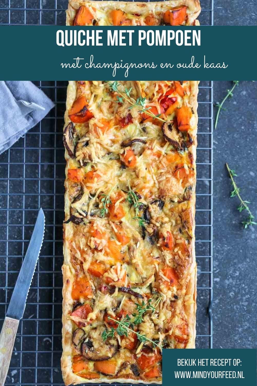 Quiche met pompoen, champignons en oude kaas. Makkelijk recept voor vegetarische quiche, makkelijke maaltijd, vegetarische hartige taart met pompoen