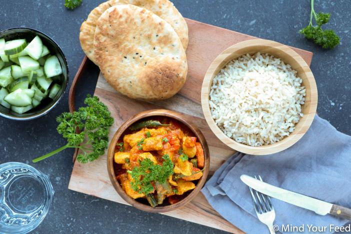 kip tandoori met rijst. Wereldgerechten met kip. Makkelijk recept kip