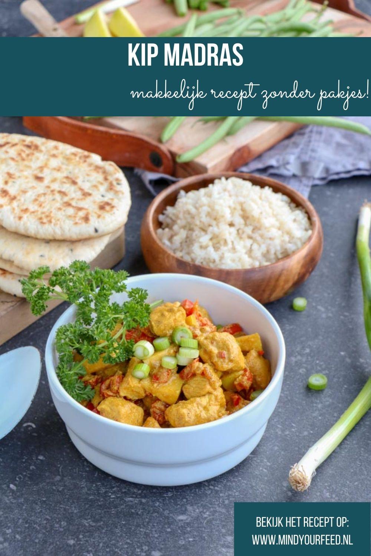 Kip Madras. Makkelijk recept voor het wereldgerecht Kip Madras zonder pakjes of zakjes. Lekker met rijst, naanbrood en sperziebonen.