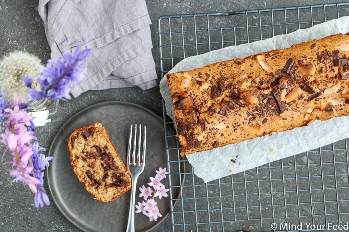 bananenbrood met pure chocola, recept voor bananenbrood zonder suiker, lekkerste bananenbrood, zelf bananenbrood bakken