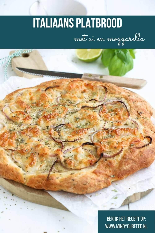Italiaans platbrood, makkelijk snel recept voor foccacia met mozzarella en ui