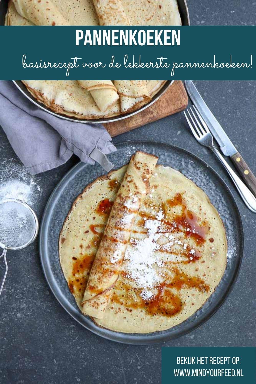 Pannenkoeken. Makkelijk basisrecept om zelf pannenkoeken te bakken, zonder kant-en-klare mix. Bloem, melk en eieren is alles wat je nodig hebt om zelf de allerlekkerste pannenkoeken te bakken!