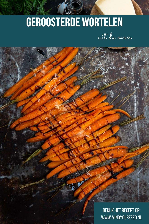 Geroosterde wortelen uit de oven met balsamico en Parmezaanse kaas. Wortelen roosteren, wortels oven