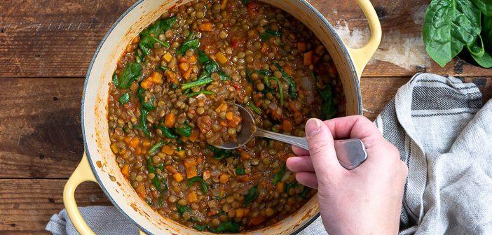 linzen stoofpot, vegetarische stoofpot recept, stoofgerecht zonder vlees, vegetarische stoofschotel met linzen,