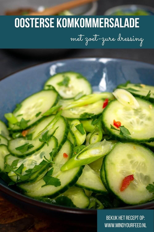 Oosterse komkommersalade, frisse komkommersalade met zoet zure dressing, makkelijk snel recept