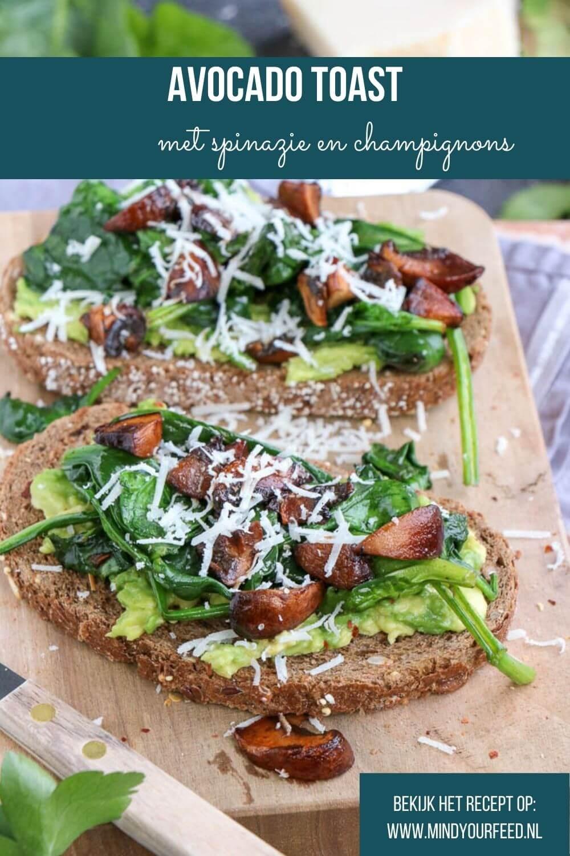 Avocado toast met spinazie en kastanjechampignons