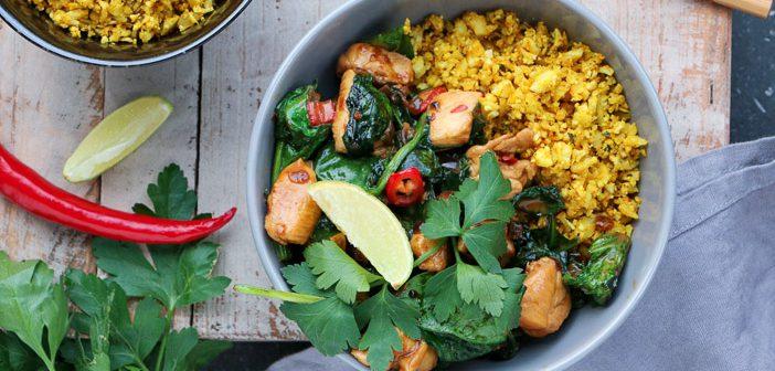 bloemkoolrijst met kip en spinazie