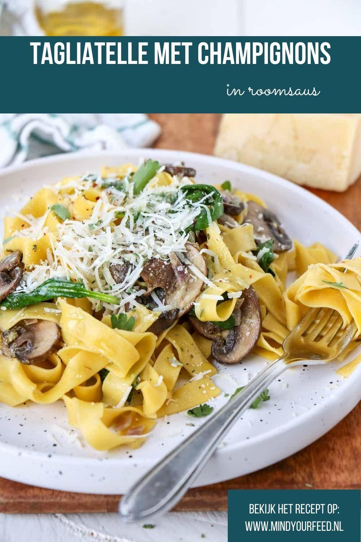 Tagliatelle met champignons in roomsaus, makkelijk recept voor pasta met champignons en room, vegetarische pasta, recept