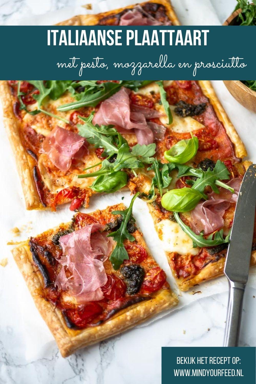 Italiaanse plaattaart met pesto en mozzarella. Makkelijk recept voor plaattaart van bladerdeeg. Plaattaart recept, bladerdeeg, pizza plaat