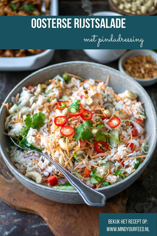 Oosterse rijstsalade, maaltijdsalade met rijst, vegetarisch recept