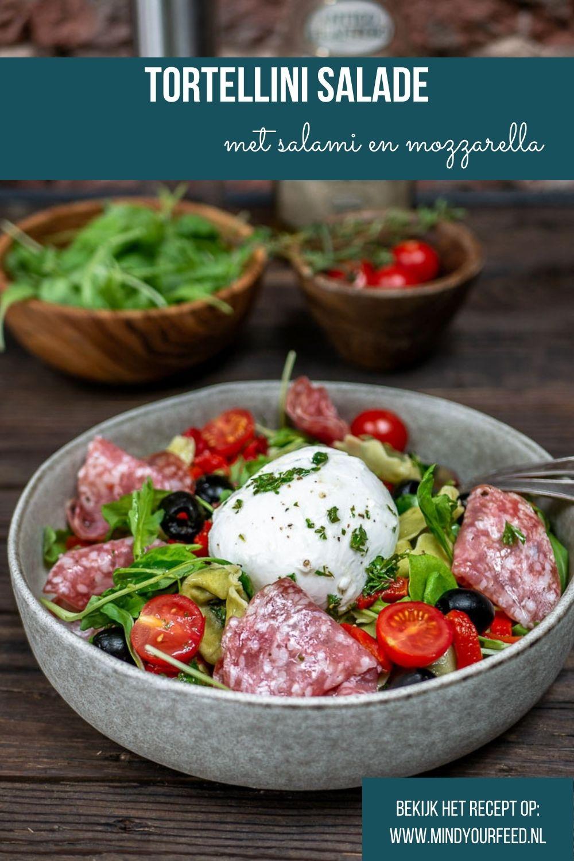 tortellini salade, pasta salade, pastasalade, Italiaanse maaltijdsalade met tortellini, salami en mozzarella