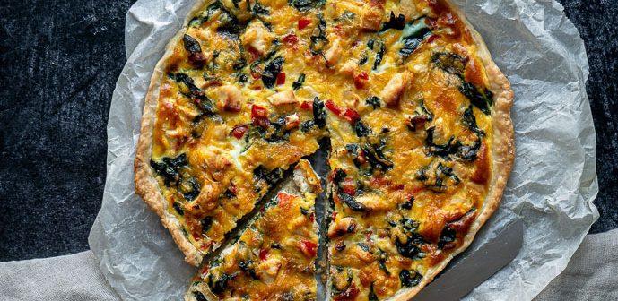quiche met spinazie en kip, quiche recepten, quiche spinazie, hartige taart spinazie