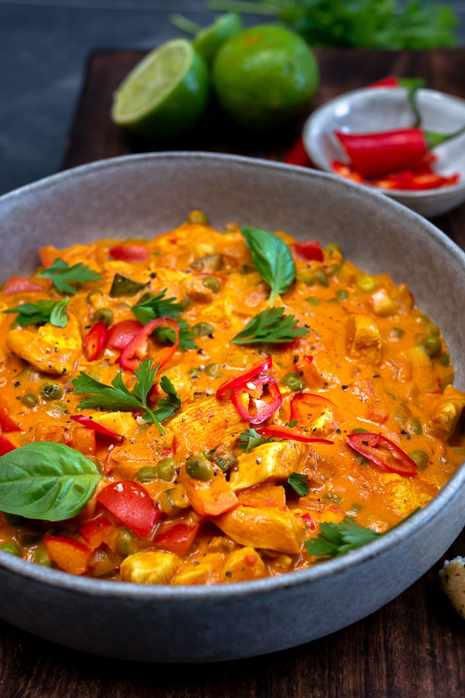 Thaise curry recept zonder pakjes, thaise curry met kip