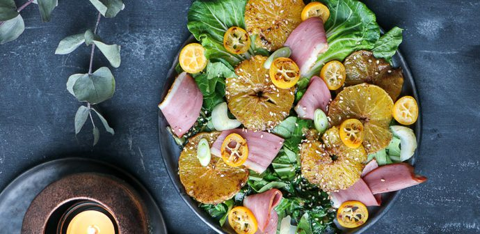 salade met gerookte eendenborst, salade voorgerechten, salade recepten, feestelijke voorgerechten Kerst