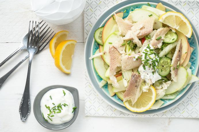 salade met gerookte forel, venkel en appel, salade voorgerechten, luxe salades, salade recepten Kerst, koude voorgerechten