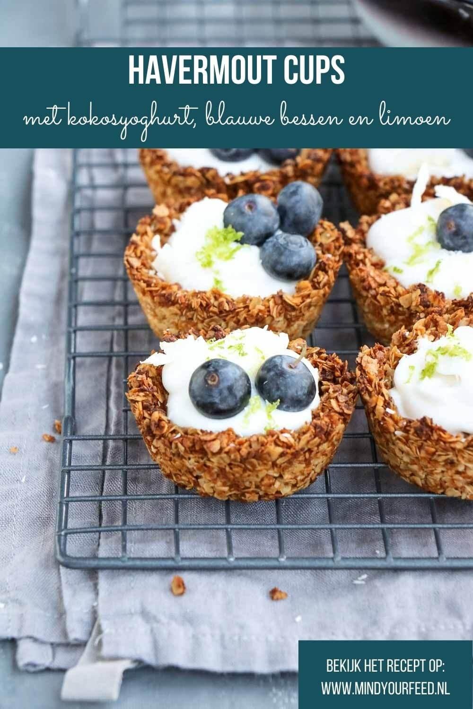 Havermout cups met kokosyoghurt, makkelijk ontbijt recept voor havermout taartjes