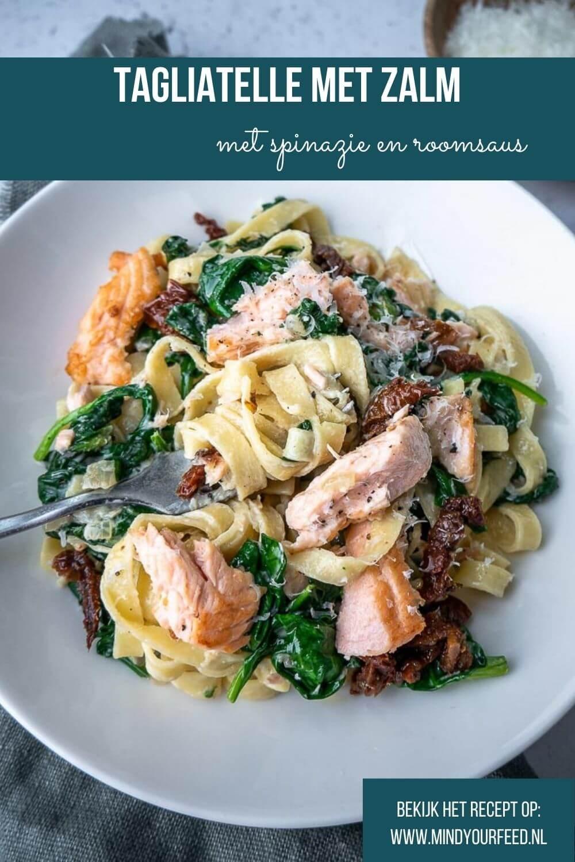 Tagliatelle met spinazie en zalm, makkelijk recept voor lekkere en snelle pasta met zalmfilet, spinazie en roomsaus