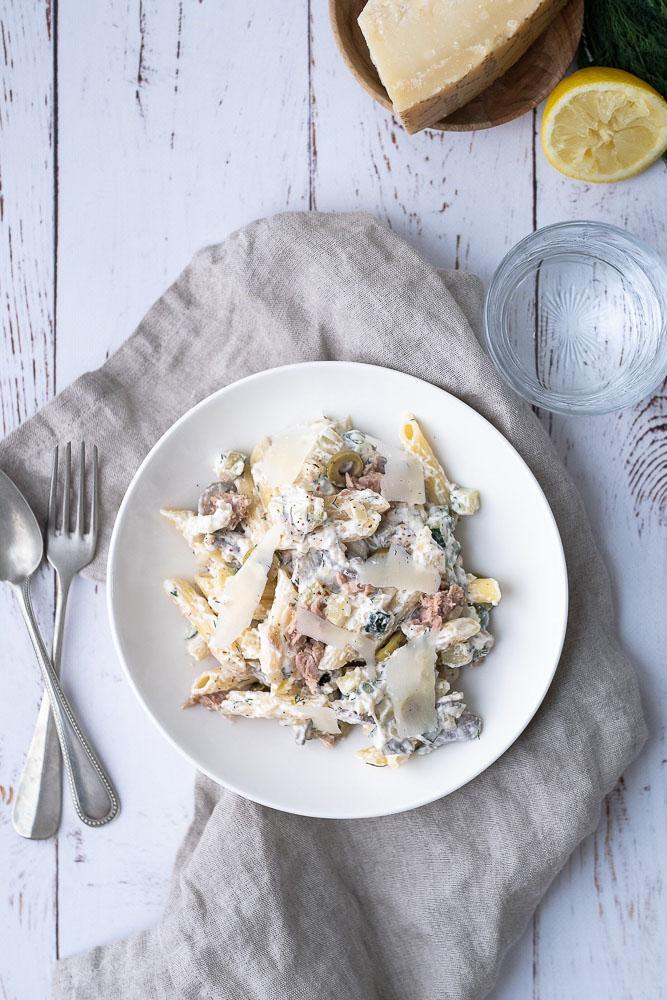 pasta met tonijn en courgette