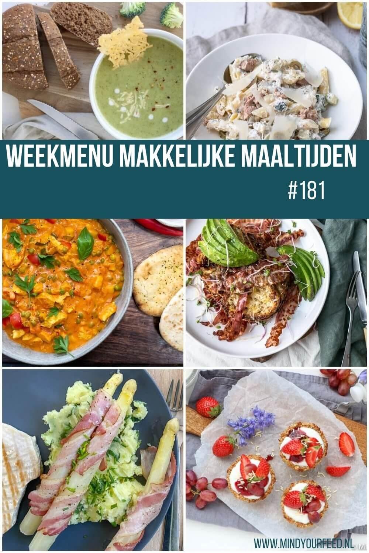 Weekmenu makkelijke maaltijden, gezonde recepten, eetplanning voor de hele week