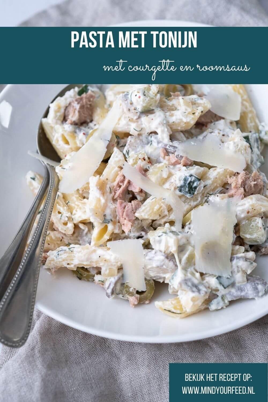 Makkelijk recept voor pasta met tonijn, courgette, champignons en roomsaus. Ideaal als makkelijke maaltijd! Pasta met vis recept