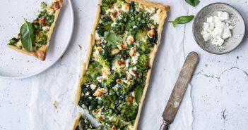 quiche met broccoli, spinazie en feta, recept voor hartige taart