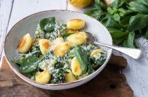 gebakken gnocchi met pesto en spinazie