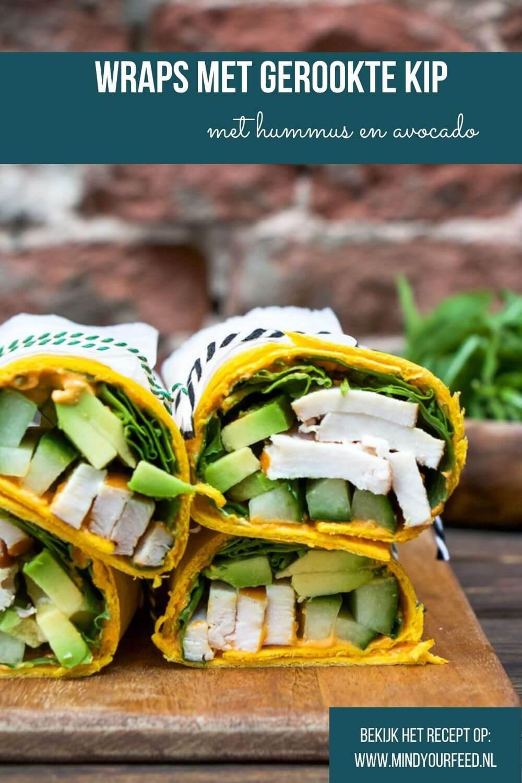 wraps met gerookte kip, lunch wrap recepten, wraps gerookte kip, hummus, avocado, recept