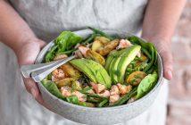 zalm uit de oven, krieltjes met zalm, aardappel salade met zalm uit de oven, met haricots verts en avocado